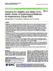 Assessing the reliability and validity of the Danish version of ...