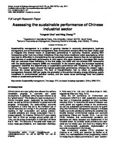 Assessing the sustainable performance of Chinese ... - CiteSeerX