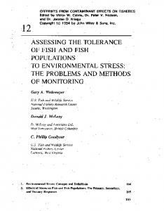 assessing the tolerance of fish and fish populations to ...