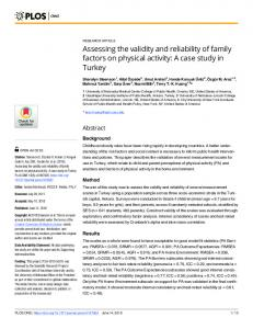 Assessing the validity and reliability of family factors on ... - PLOS