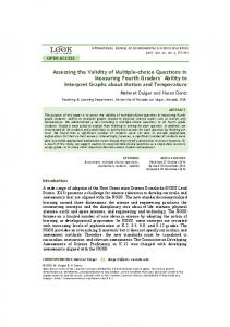 Assessing the Validity of Multiple-choice Questions in Measuring ... - Eric
