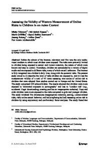 Assessing the Validity of Western Measurement of ...