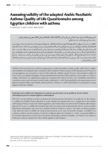 Assessing validity of the adapted Arabic Paediatric ... - Semantic Scholar