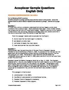 Assessment - Accuplacer Sample English
