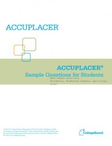 Assessment - Accuplacer Sample Math