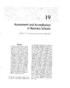 Assessment and Accreditation in Business Schools - Collegiate ...