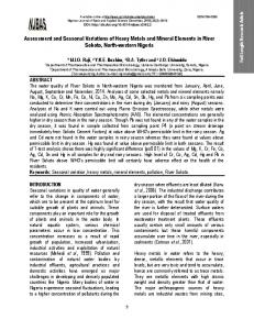 Assessment and Seasonal Variations of Heavy Metals and Mineral ...