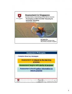 Assessment in Singapore: Assessing creativity, critical thinking and ...