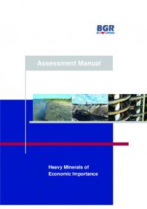 Assessment Manual: Heavy Minerals of Economic Importance ...