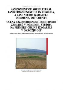 assessment of agricultural land fragmentation in romania, a case study
