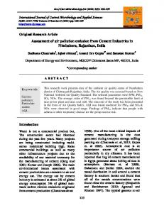 Assessment of air pollution emission from Cement Industries in ...