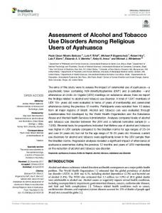 Assessment of Alcohol and Tobacco Use