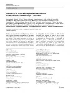 Assessment of -amyloid deposits in human brain: a