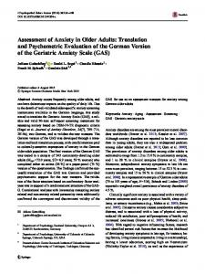 Assessment of Anxiety in Older Adults: Translation and ... - Springer Link