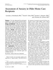 Assessment of Anxiety in Older Home Care ... - Semantic Scholar