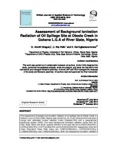 Assessment of Background Ionization Radiation of Oil Spillage Site at ...