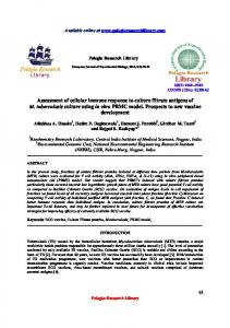 Assessment of cellular immune response to culture filtrate ... - iMedpub