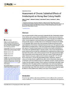Assessment of Chronic Sublethal Effects of Imidacloprid on ... - PLOS