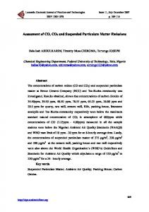 Assessment of CO, CO2 and Suspended Particulate Matter Emissions