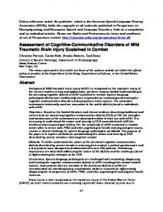 Assessment of Cognitive-Communicative Disorders of