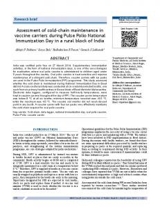 Assessment of cold-chain maintenance in ... - WHO South-East Asia