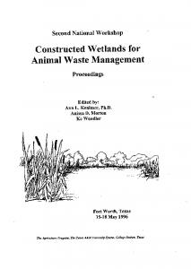 Assessment of Constructed Wetlands for Mass Removal - USDA ARS