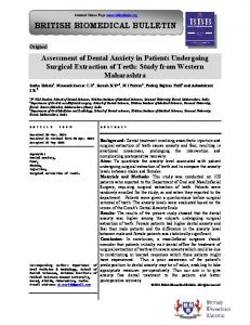 Assessment of Dental Anxiety in Patients Undergoing ... - iMedpub