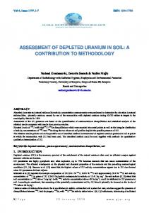 assessment of depleted uranium in soil: a contribution ...