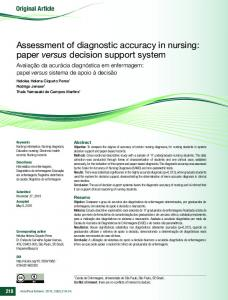 Assessment of diagnostic accuracy in nursing