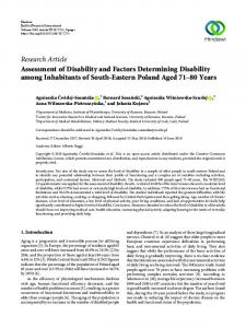 Assessment of Disability and Factors Determining Disability among