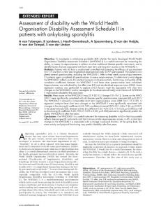Assessment of disability with the World Health Organisation Disability ...