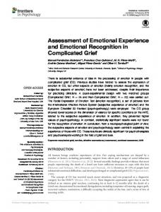 Assessment of Emotional Experience and Emotional ... - Core