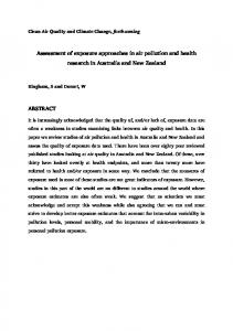 Assessment of Exposure Approaches in Australasian Air Pollution and ...