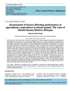 Assessment of factors affecting performance of ... - Academic Journals