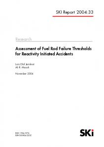 Assessment of Fuel Rod Failure Thresholds for Reactivity Initiated ...
