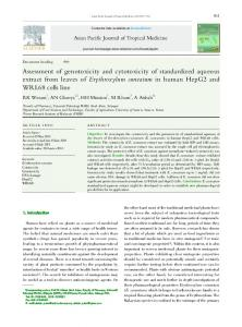 Assessment of genotoxicity and cytotoxicity of standardized aqueous ...