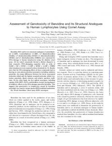 Assessment of Genotoxicity of Benzidine and Its ...