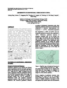 Assessment of Geothermal Resources in China - Stanford Earth ...