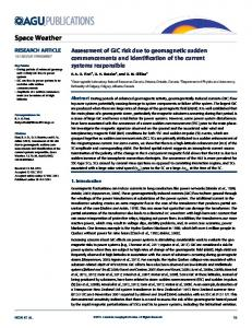 Assessment of GIC risk due to geomagnetic ... - Wiley Online Library