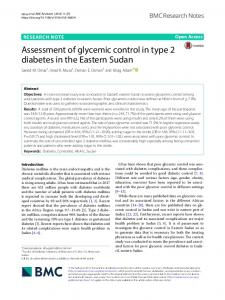 Assessment of glycemic control in type 2 diabetes in ...