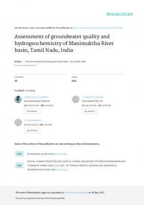 Assessment of groundwater quality and ...