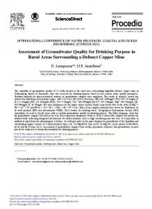 Assessment of Groundwater Quality for Drinking ... - ScienceDirect
