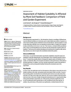 Assessment of Habitat Suitability Is Affected by ... - Semantic Scholar