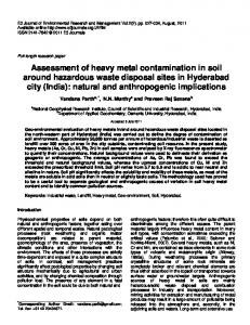 Assessment of heavy metal contamination in soil around hazardous ...
