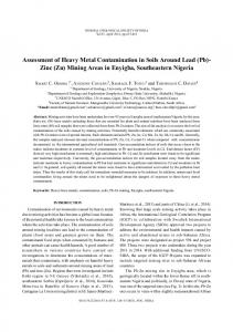 Assessment of heavy metal contamination in soils around lead (Pb ...