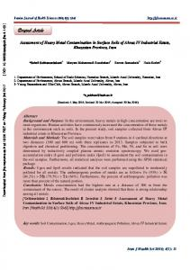 Assessment of Heavy Metal Contamination in Surface Soils of Ahvaz ...