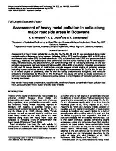 Assessment of heavy metal pollution in soils along major roadside ...