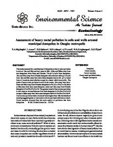 Assessment of heavy metal pollution in soils and