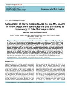 Assessment of heavy metals (Cu, Ni, Fe, Co, Mn ... - Academic Journals