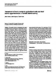 Assessment of heavy metals in agricultural soils and